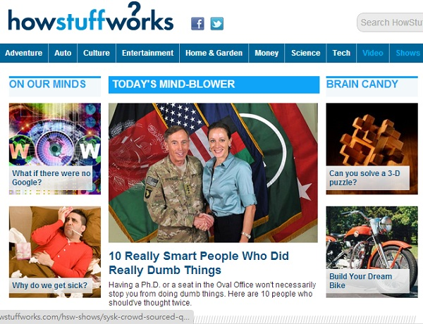 How Stuff Works dot com screen shot